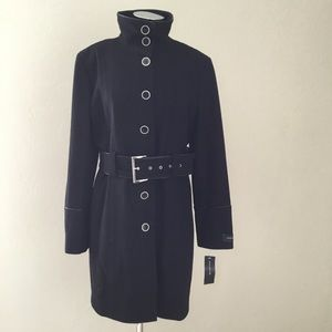 Jones NY Belted Wool-Blend Stand-Collar Coat - NWT